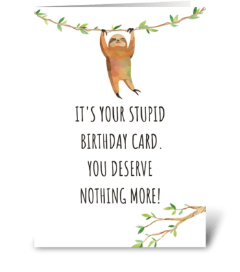 Happy Birthday Sloth greeting card