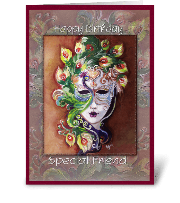 Lady in a Mask, Birthday to Friend greeting card
