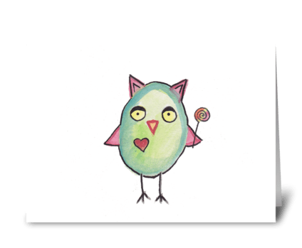 Owl & Lollipop greeting card