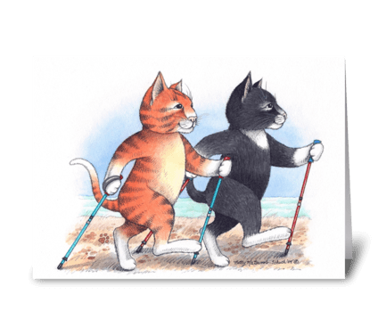 Nordic Walking Cats #66 greeting card