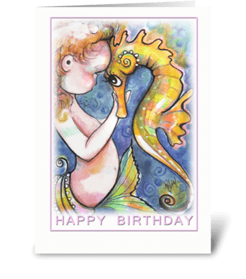 Mermaid Baby and Seahorse, Birthday greeting card
