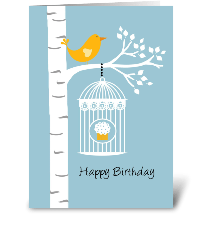Birthday Birdie with Cupcake greeting card