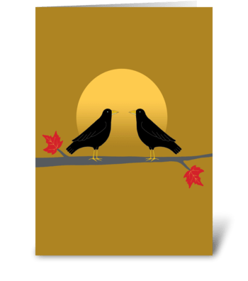 Two crows and the fall moon greeting card