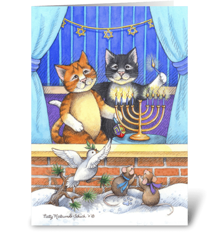 Happy Hanukkah Cats Bud & Tony greeting card