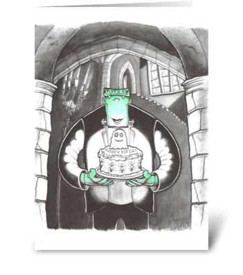Boris with Cake greeting card