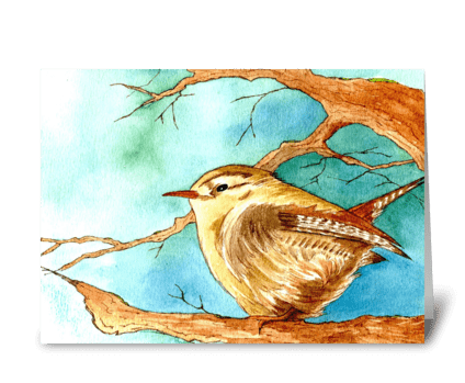 Fluffy Wren greeting card