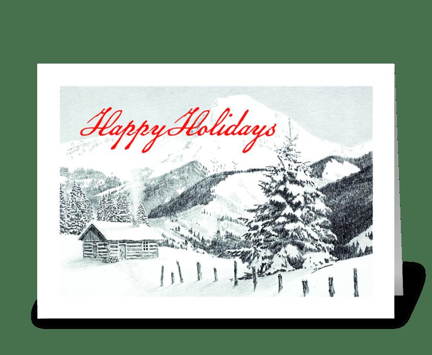 Holiday Cabin greeting card