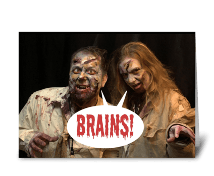 Zombie Couple Wanting Brains greeting card