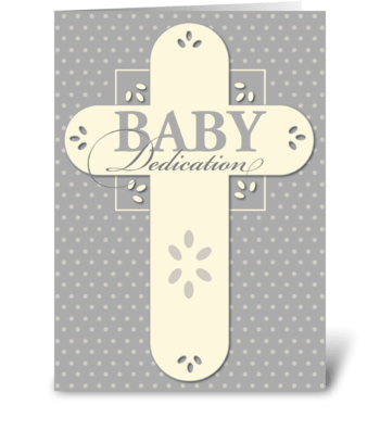 Baby Dedication Cream & Gray Cross greeting card