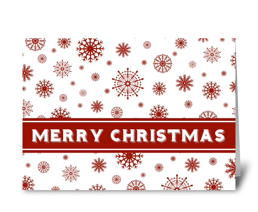 Red White Snowflakes Merry Christmas greeting card