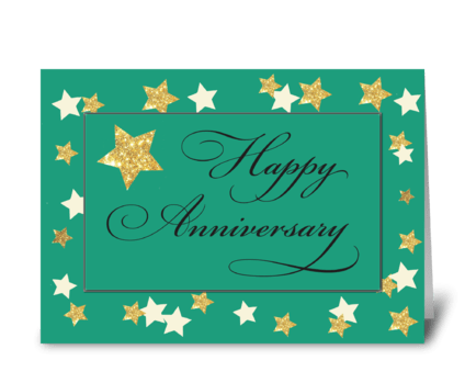 Employee Anniversary Green Gold Effect greeting card