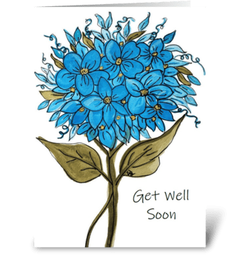 Blue Hydrangea Get Well Card greeting card