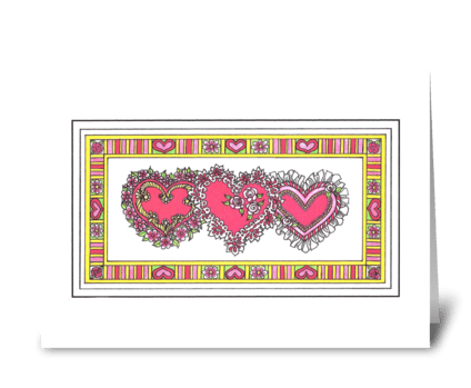 TRIPLE HEART VALENTINE greeting card