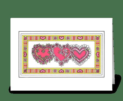 TRIPLE HEART VALENTINE greeting card