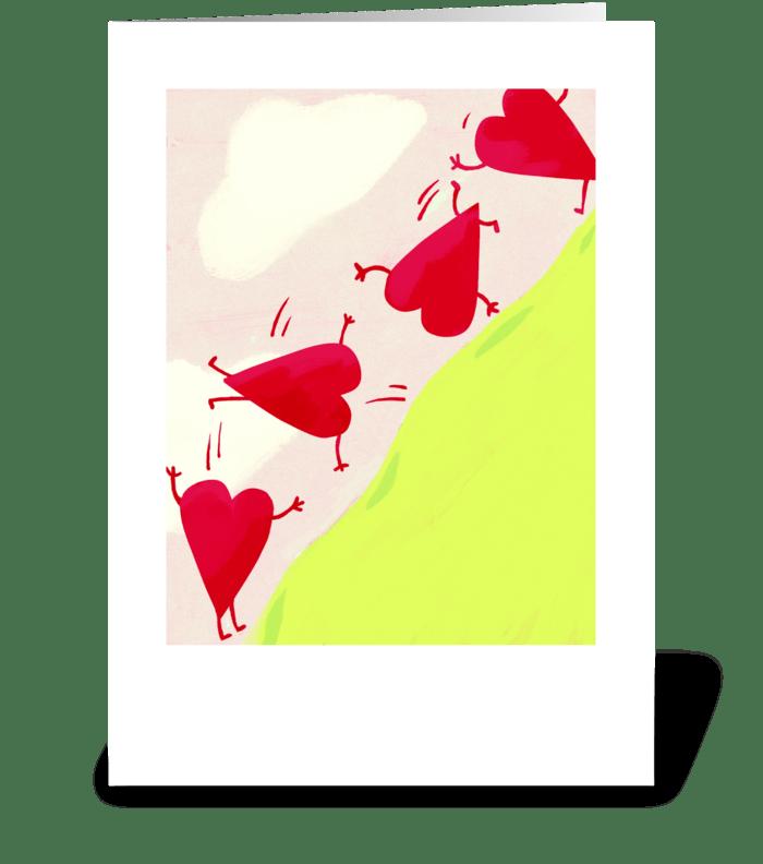 Head Over Heels greeting card