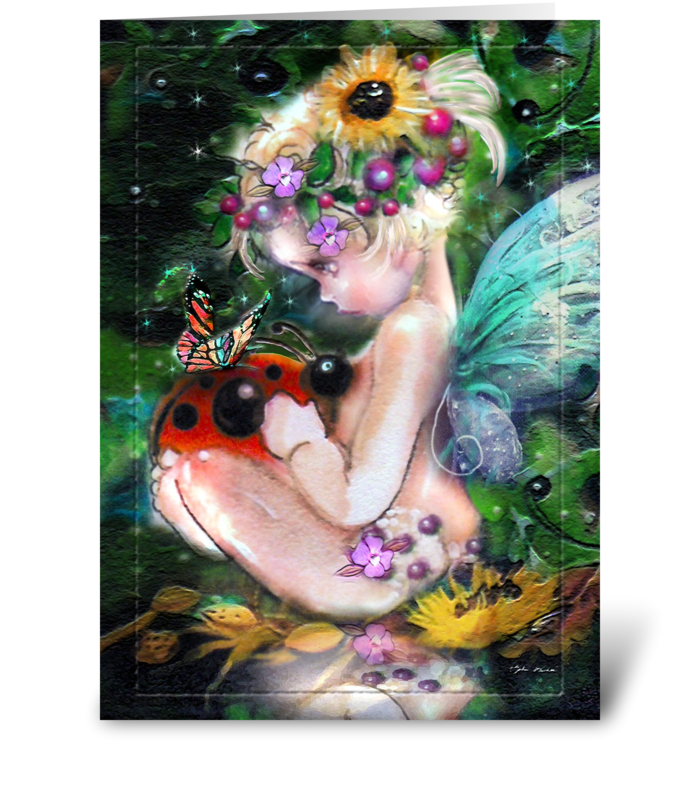 Little fae and Visitors greeting card