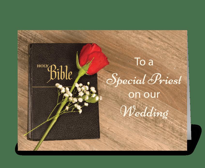 Thank You Catholic Priest for Wedding greeting card