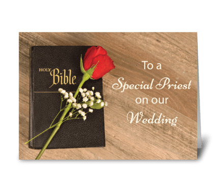 Thank You Catholic Priest for Wedding greeting card