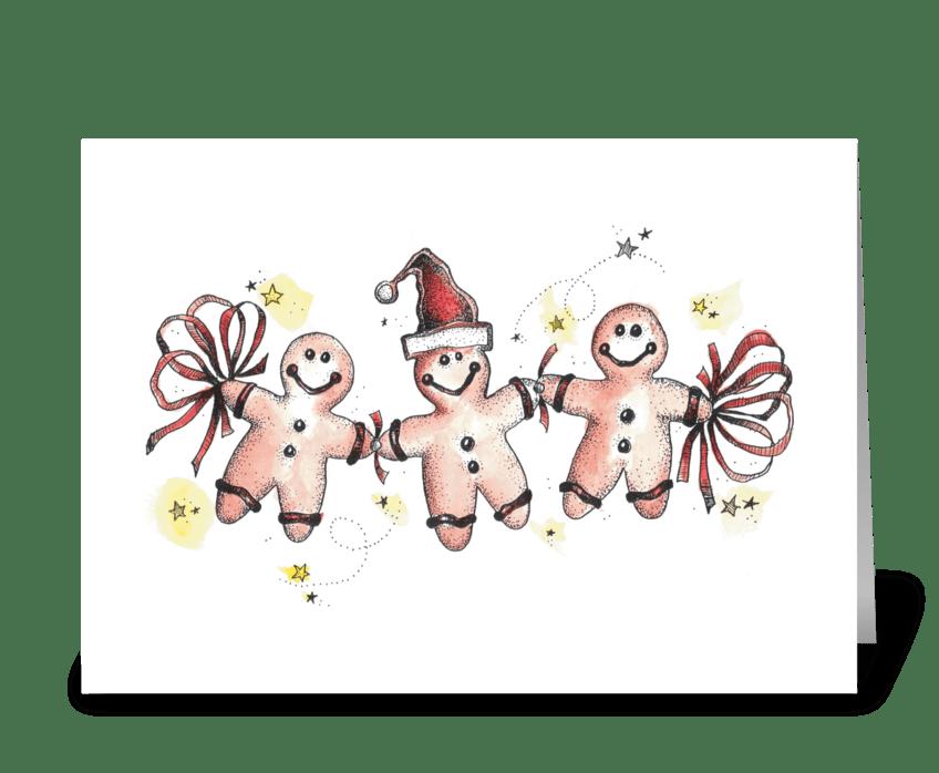 Festive Gingerbread Men greeting card