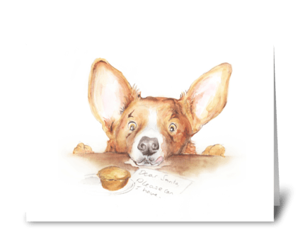 Corgi Christmas greeting card