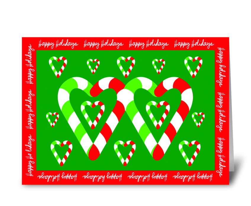 Christmas Candy Canes of Love greeting card