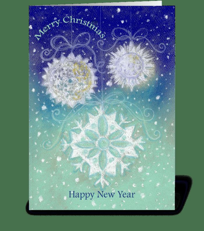 Snowflakes Christmas & New Year greeting card