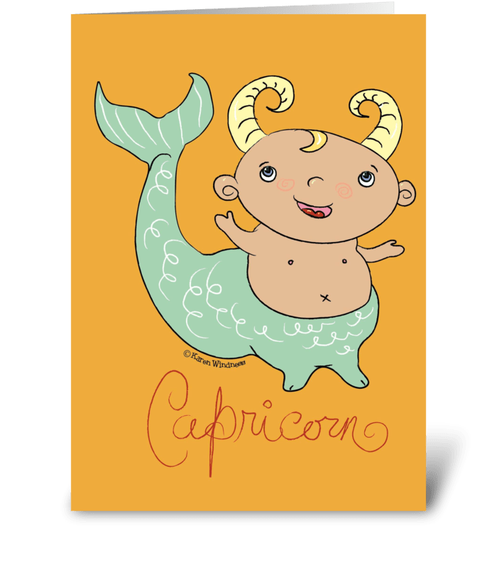 Little Capricorn greeting card