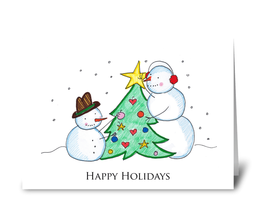 Happy Holidays Snowmen greeting card