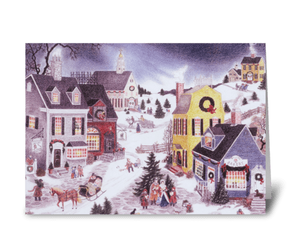 Caroling on Christmas greeting card
