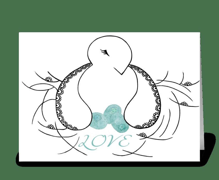 Bird in Nest greeting card