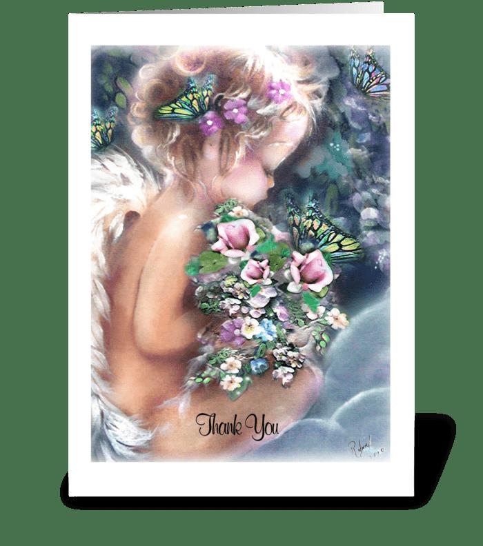 Angel, Thank You Card greeting card