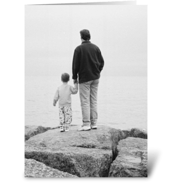 Holding Dad's Hand greeting card