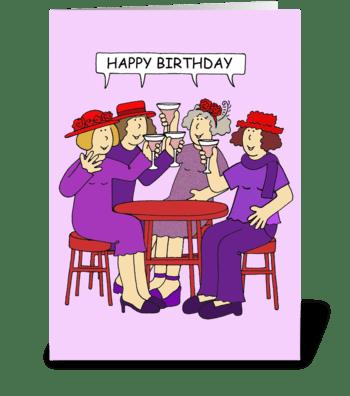 Red Hat Ladies Birthday Card greeting card