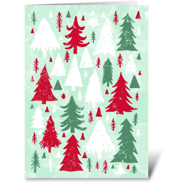 Red, White and Green Pine Trees greeting card
