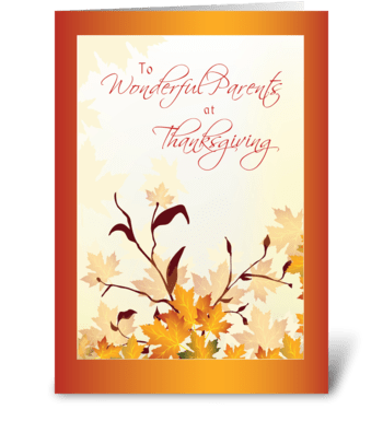 Parents Thanksgiving Red Leaves greeting card