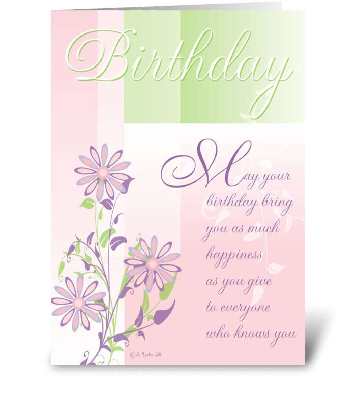 Pastels and Flowers Birthday Card greeting card