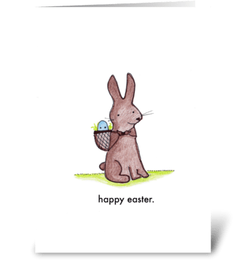 Happy Easter Bunny and Egg greeting card