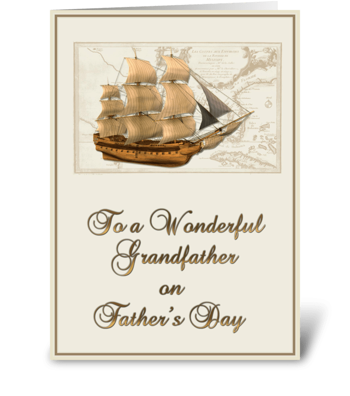 Tall Ship, Father's Day, Grandfather greeting card