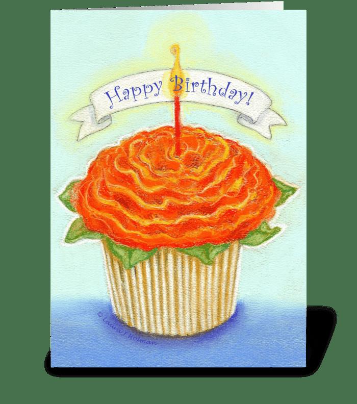 Happy Birthday Flower Cupcake greeting card