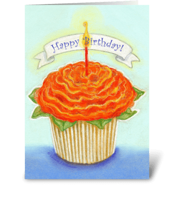 Happy Birthday Flower Cupcake greeting card
