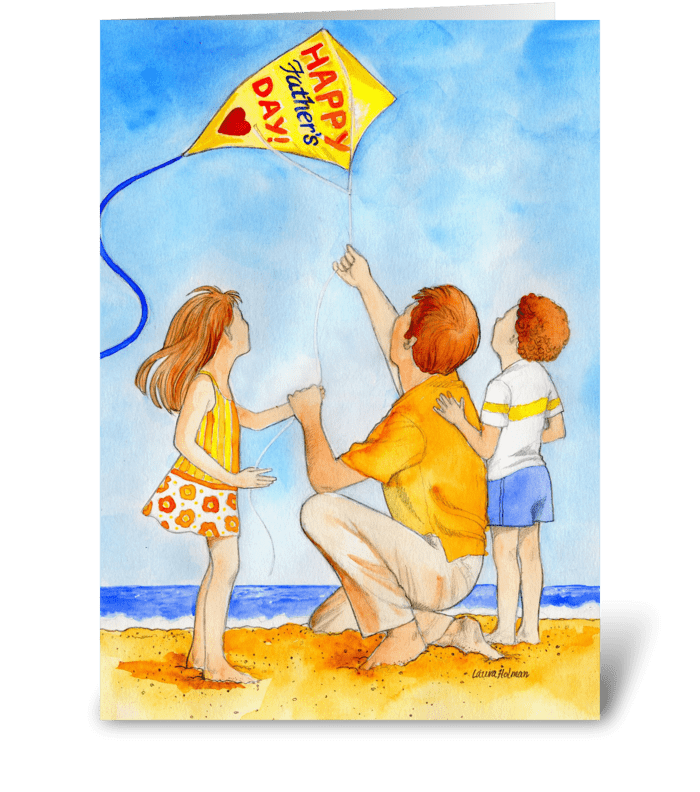 Father's Day Kite Flying greeting card