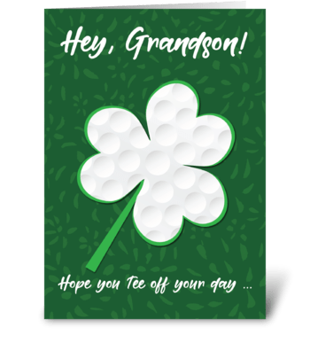 Grandson Golf Sports St. Patrick's Day greeting card