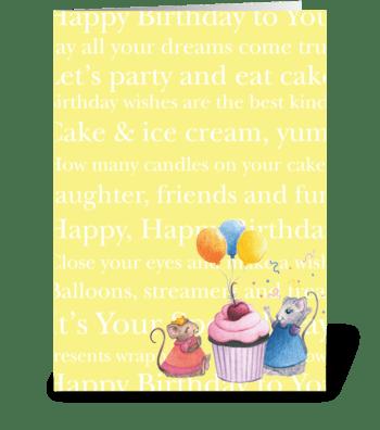 Happy Birthday Mice greeting card