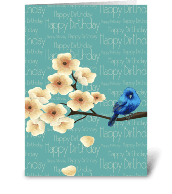 Blue Bird Of Happiness Birthday Card  greeting card