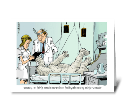 Getting plastered. greeting card