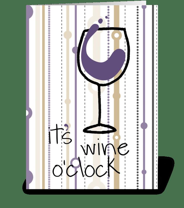 Wine O'Clock greeting card