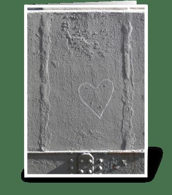 Heart Outline Graffiti greeting card