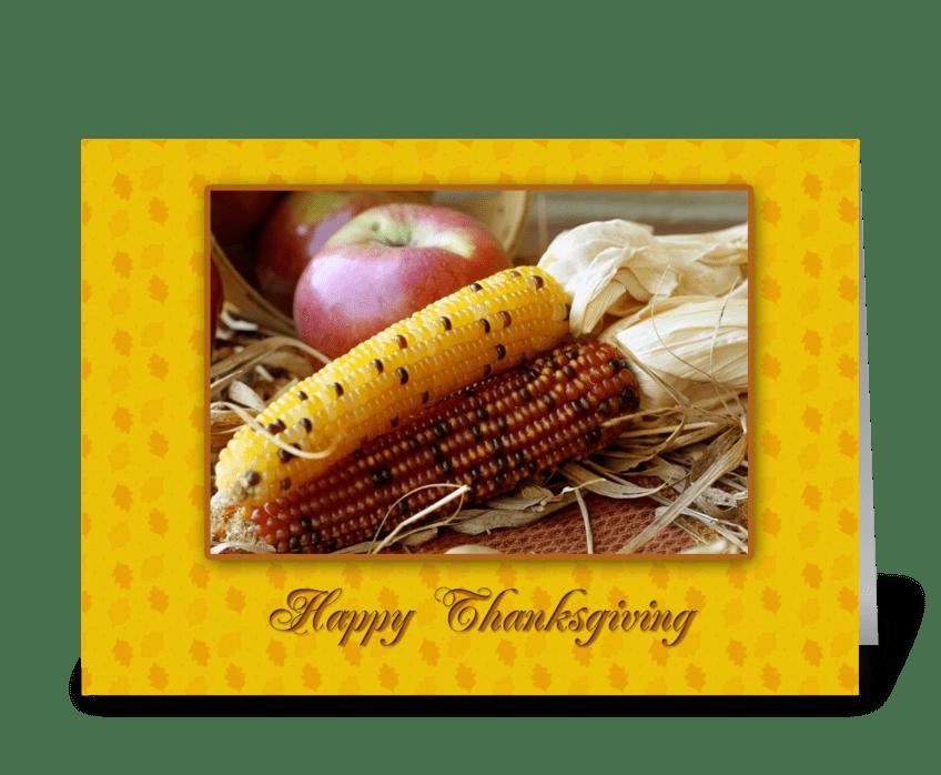 Indian Corn, Apples, Thanksgiving greeting card