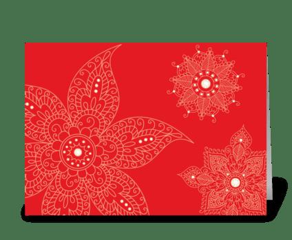 Modern Bazaar 1 Red greeting card