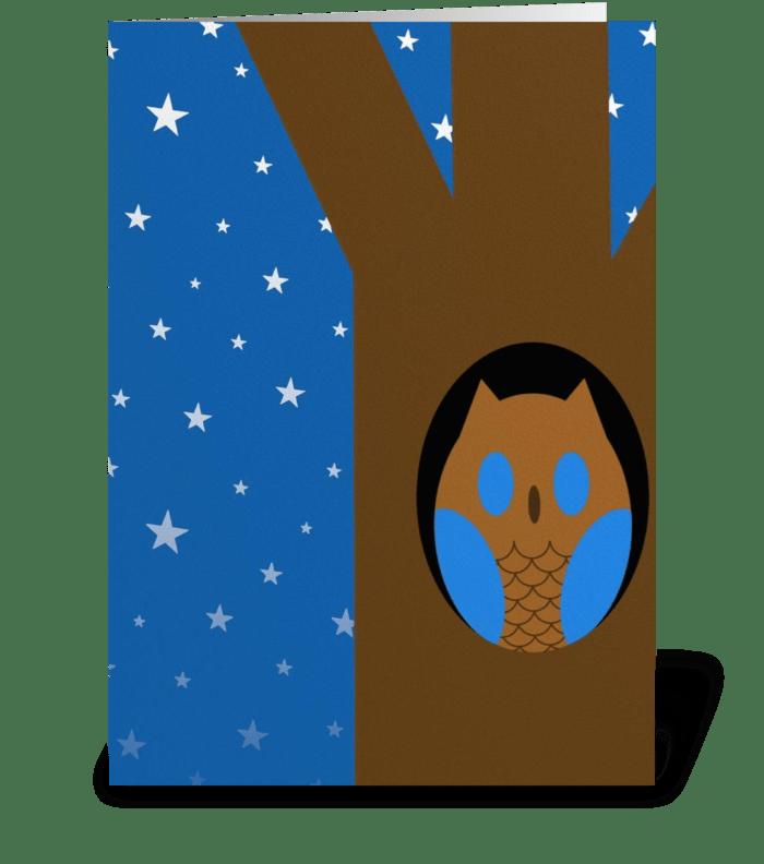 Blue eyed owl greeting card